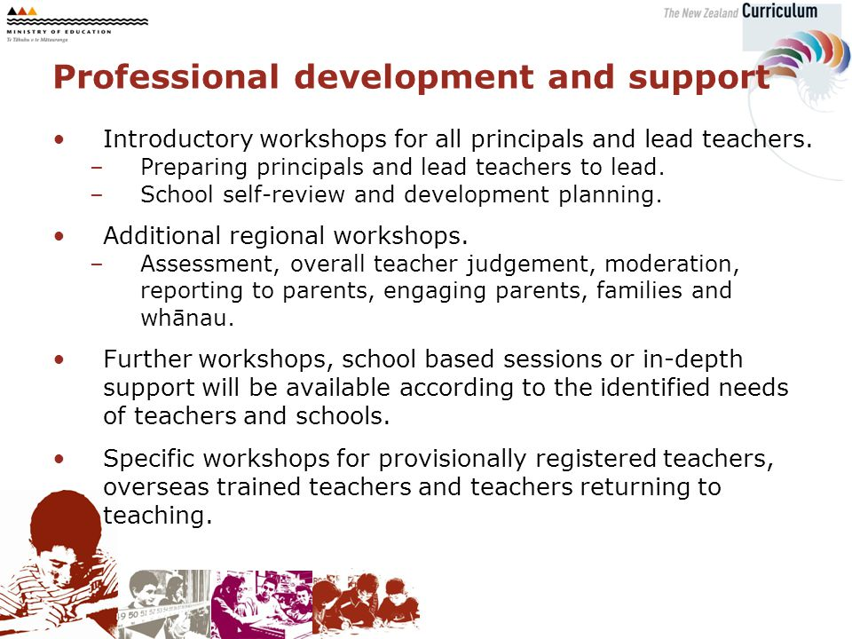 Introductory workshops for all principals and lead teachers.