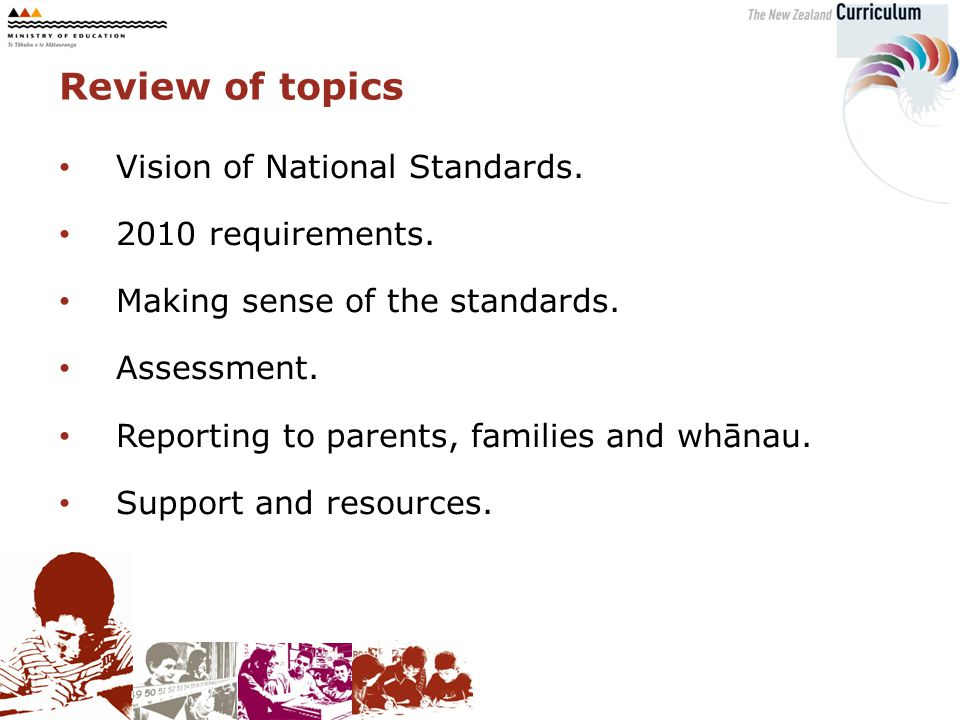 Review of topics Vision of National Standards.2010 requirements.