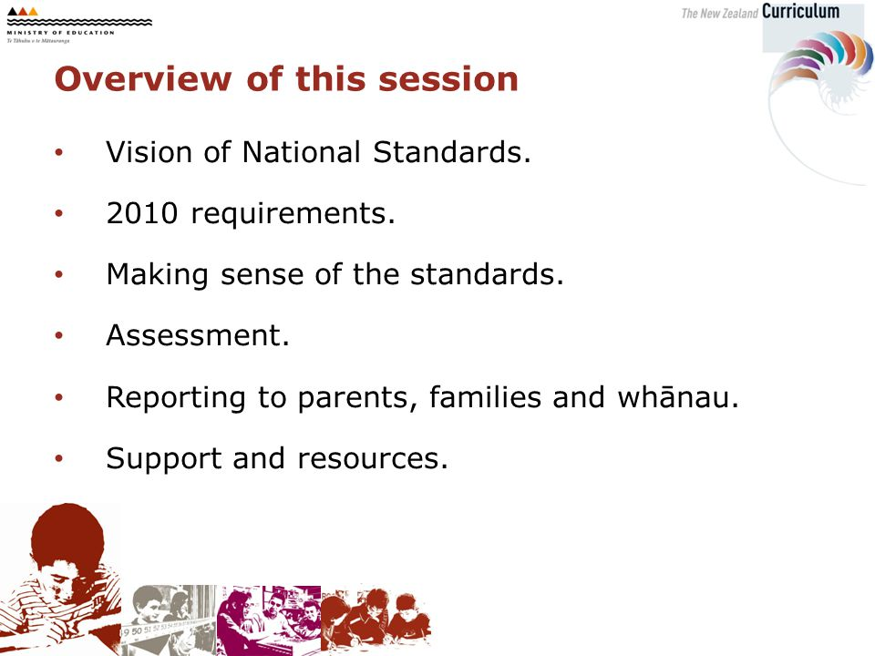 Overview of this session Vision of National Standards.