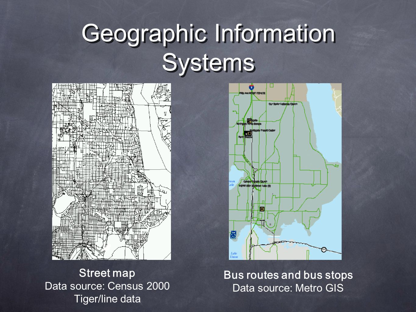 Geographic Information Systems Bus routes and bus stops Data source: Metro GIS Street map Data source: Census 2000 Tiger/line data