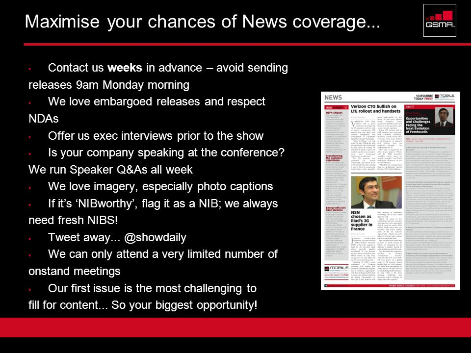 Confidential 5 Maximise your chances of News coverage...