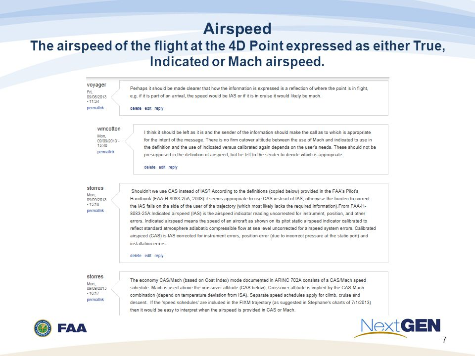 Airspeed The airspeed of the flight at the 4D Point expressed as either True, Indicated or Mach airspeed.