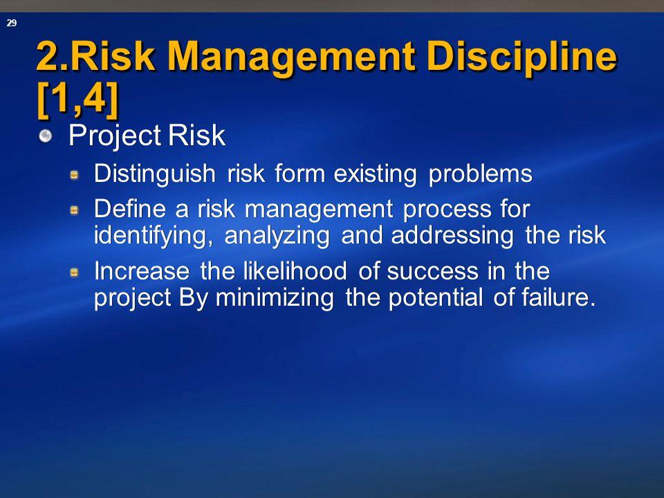 29 2.Risk Management Discipline [1,4] Project Risk Distinguish risk form existing problems Define a risk management process for identifying, analyzing