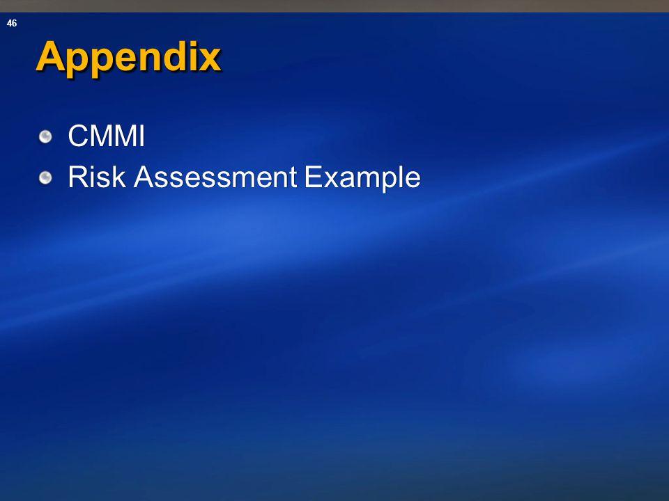 46 AppendixAppendix CMMI Risk Assessment Example CMMI Risk Assessment Example