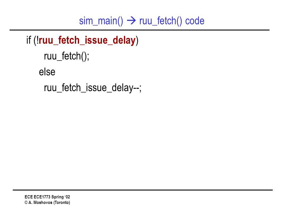 ECE ECE1773 Spring '02 © A. Moshovos (Toronto) sim_main()  ruu_fetch() code if (.