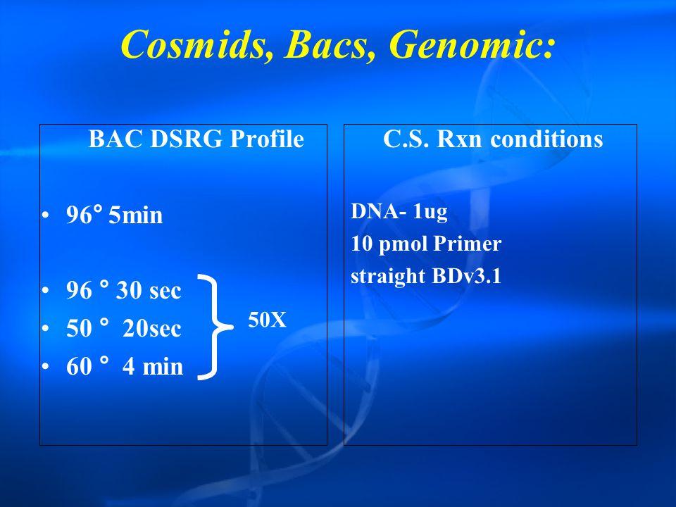 Cosmids, Bacs, Genomic: BAC DSRG Profile 96°5min 96 ° 30 sec 50 ° 20sec 60 ° 4 min C.S.