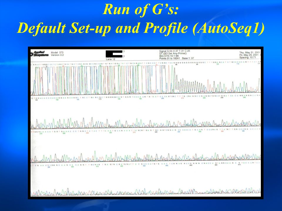 Run of G's: Default Set-up and Profile (AutoSeq1)