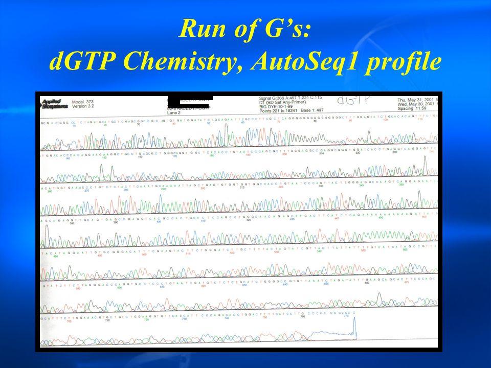 Run of G's: dGTP Chemistry, AutoSeq1 profile