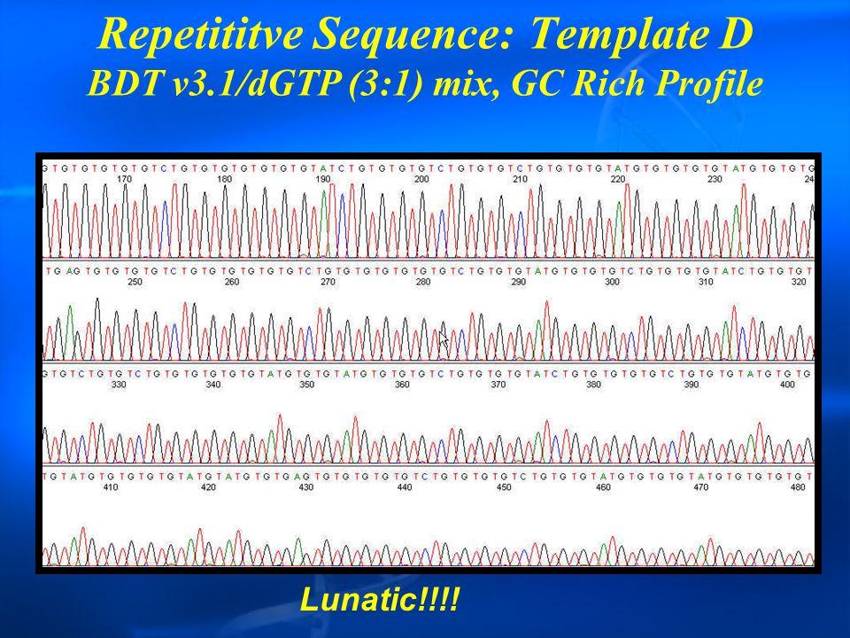 Repetititve Sequence: Template D BDT v3.1/dGTP (3:1) mix, GC Rich Profile Lunatic!!!!