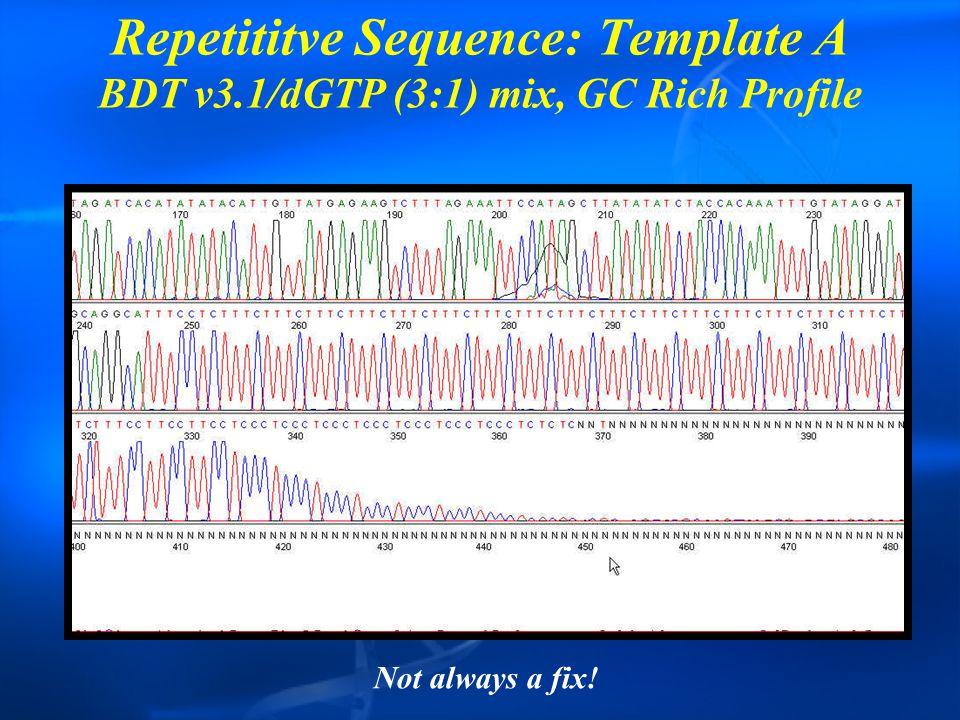 Repetititve Sequence: Template A BDT v3.1/dGTP (3:1) mix, GC Rich Profile Not always a fix!