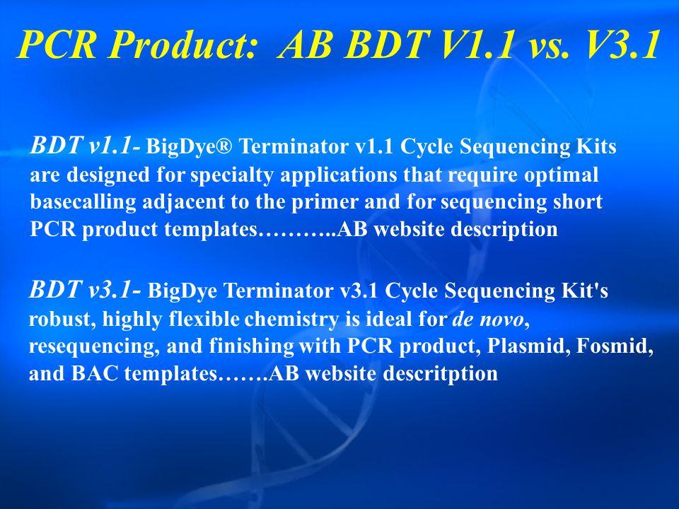 PCR Product: AB BDT V1.1 vs.
