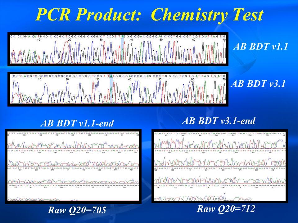 PCR Product: Chemistry Test AB BDT v1.1 AB BDT v3.1 AB BDT v1.1-end AB BDT v3.1-end Raw Q20=705 Raw Q20=712