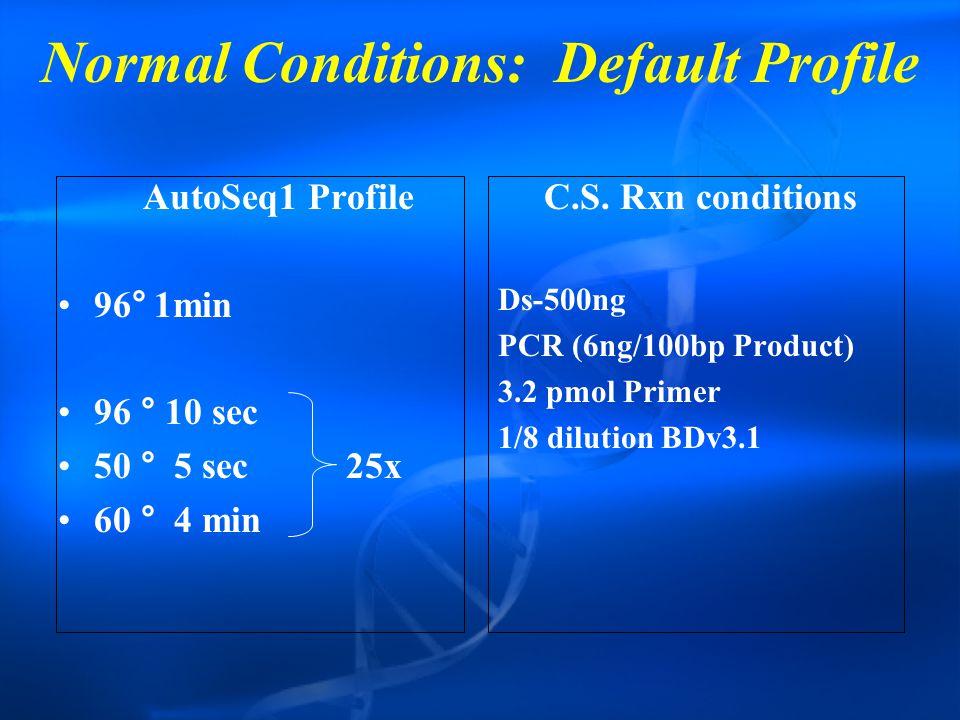 Normal Conditions: Default Profile AutoSeq1 Profile 96°1min 96 ° 10 sec 50 ° 5 sec25x 60 ° 4 min C.S.
