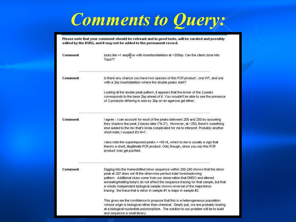 Comments to Query: