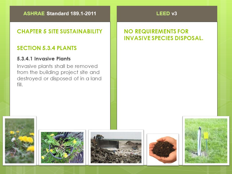 ASHRAE Standard 189.1-2011LEED v3 CHAPTER 5 SITE SUSTAINABILITY SECTION 5.3.4 PLANTS NO REQUIREMENTS FOR INVASIVE SPECIES DISPOSAL. 5.3.4.1 Invasive P