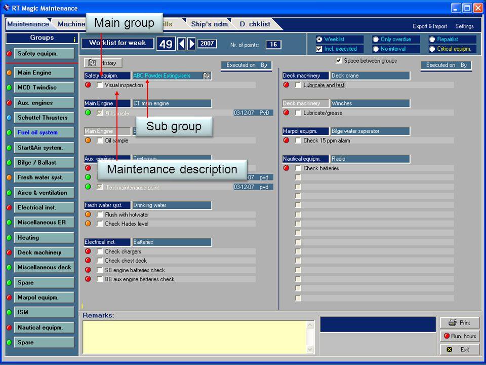 Main group Sub group Maintenance description