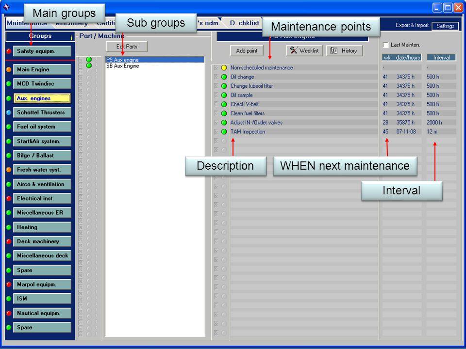 Main groups Sub groups Maintenance points Description WHEN next maintenance Interval