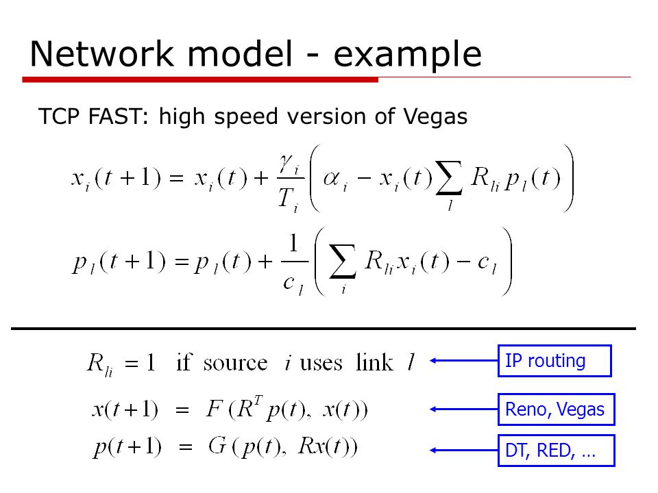 Network model - example Reno, Vegas DT, RED, … IP routing TCP FAST: high speed version of Vegas