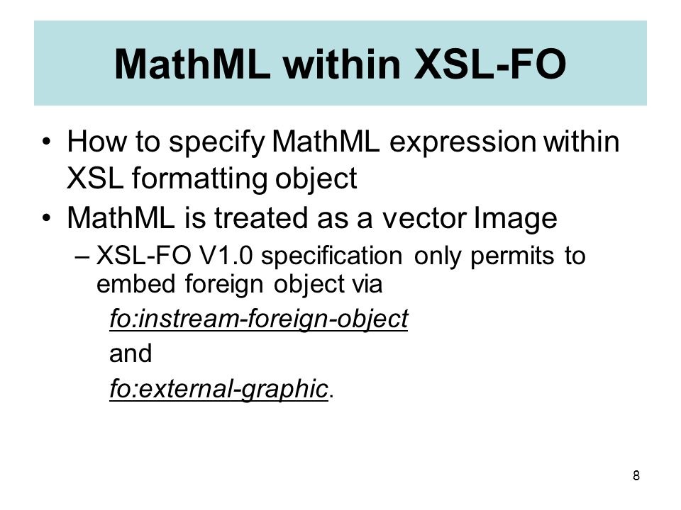 9 fo:instream-foreign-object DTD declaration is necessary to use entity reference in MathML.