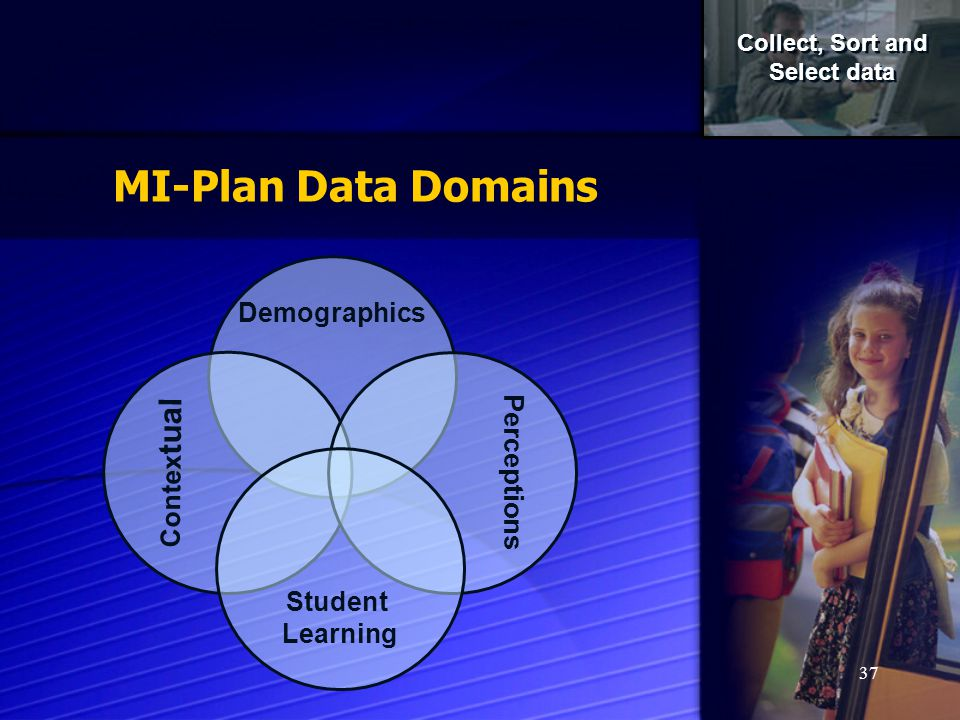 37 Demographics Contex tual Perceptions Student Learning Collect, Sort and Select data Collect, Sort and Select data MI-Plan Data Domains