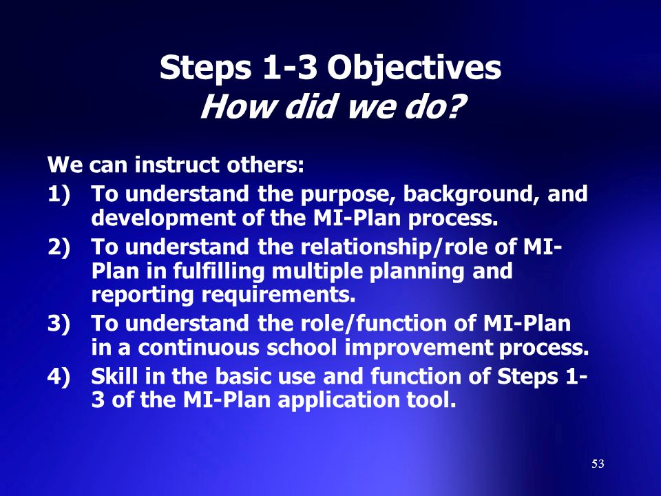 53 Steps 1-3 Objectives How did we do.
