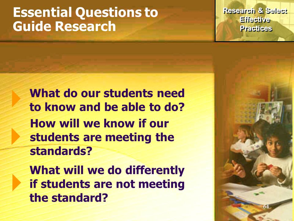 64 Essential Questions to Guide Research What do our students need to know and be able to do.