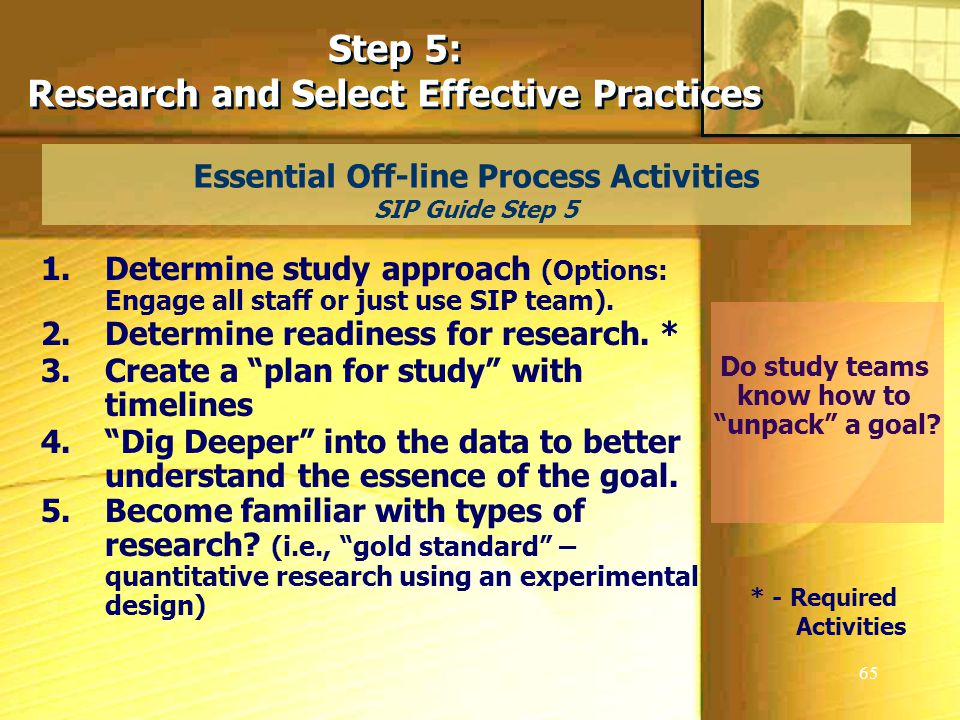 65 Essential Off-line Process Activities SIP Guide Step 5 Step 5: Research and Select Effective Practices Step 5: Research and Select Effective Practices 1.Determine study approach (Options: Engage all staff or just use SIP team).