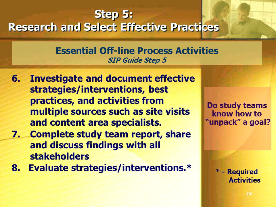 66 Essential Off-line Process Activities SIP Guide Step 5 Step 5: Research and Select Effective Practices Step 5: Research and Select Effective Practices 6.Investigate and document effective strategies/interventions, best practices, and activities from multiple sources such as site visits and content area specialists.