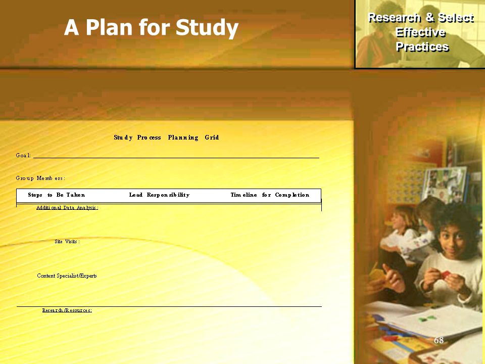 68 A Plan for Study Research & Select Effective Practices Research & Select Effective Practices