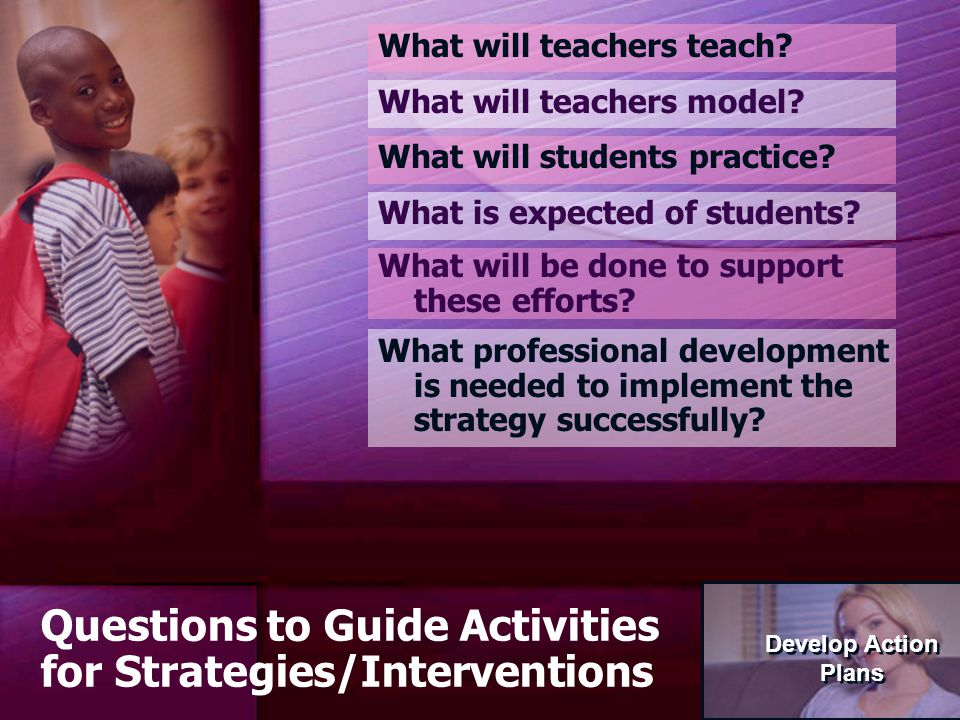 76 Questions to Guide Activities for Strategies/Interventions What will teachers teach.