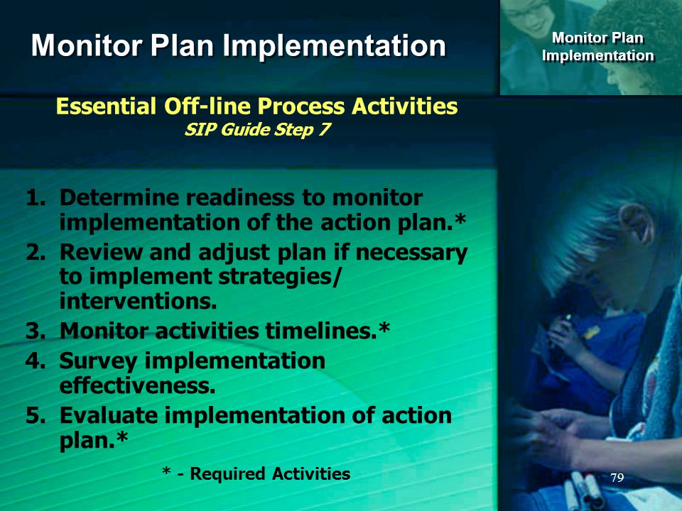 79 Monitor Plan Implementation Monitor Plan Implementation Monitor Plan Implementation Essential Off-line Process Activities SIP Guide Step 7 1.Determine readiness to monitor implementation of the action plan.* 2.Review and adjust plan if necessary to implement strategies/ interventions.