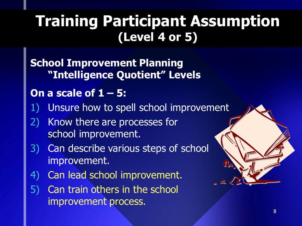 8 Training Participant Assumption (Level 4 or 5) School Improvement Planning Intelligence Quotient Levels On a scale of 1 – 5: 1)Unsure how to spell school improvement 2)Know there are processes for school improvement.