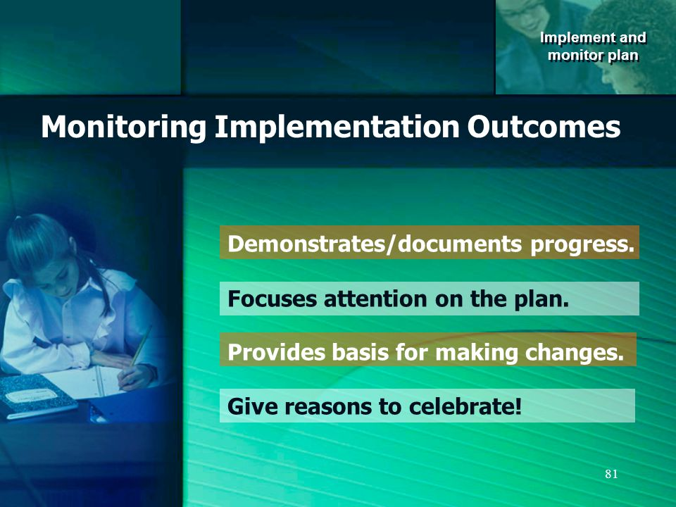81 Monitoring Implementation Outcomes Demonstrates/documents progress.