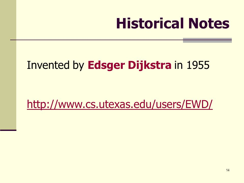 14 Historical Notes Invented by Edsger Dijkstra in 1955 http://www.cs.utexas.edu/users/EWD/
