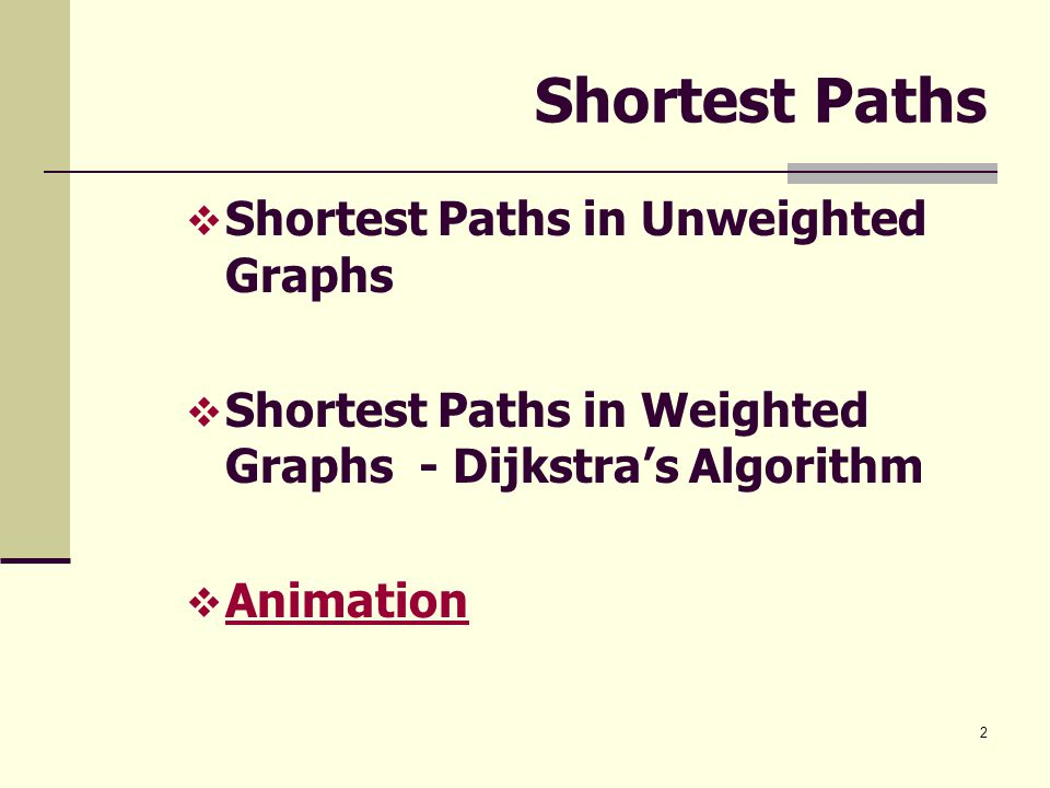 2 Shortest Paths  Shortest Paths in Unweighted Graphs  Shortest Paths in Weighted Graphs - Dijkstra's Algorithm  Animation Animation