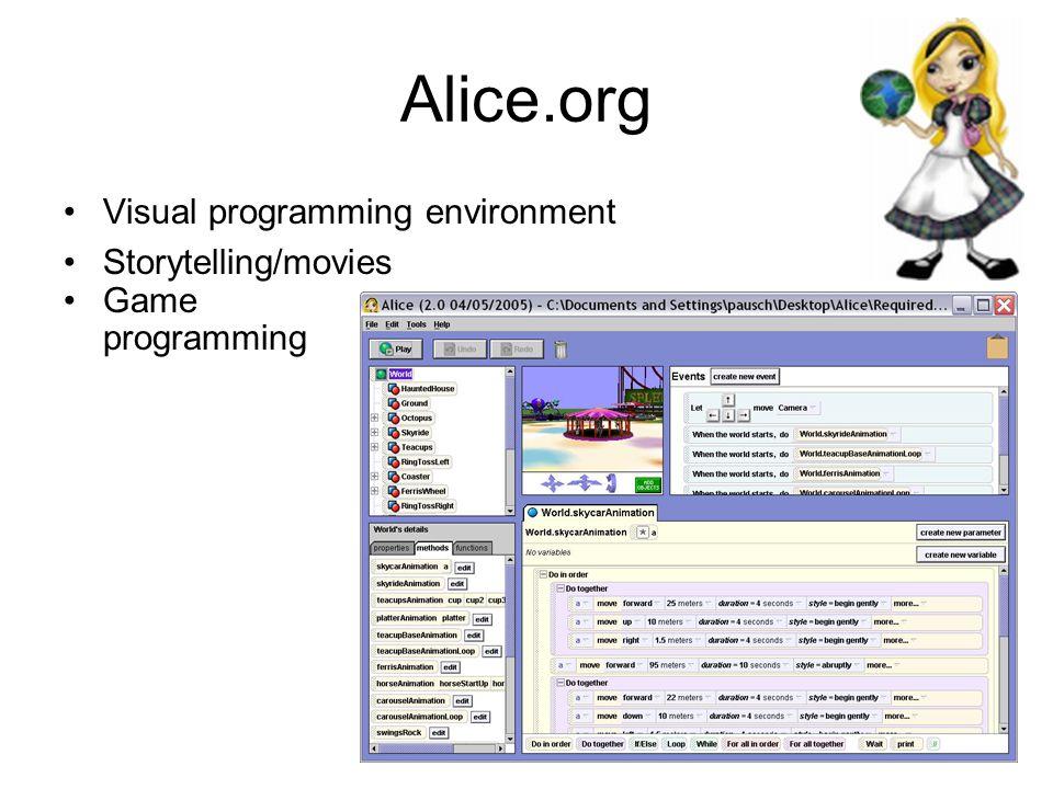 Alice.org Visual programming environment Storytelling/movies Game programming