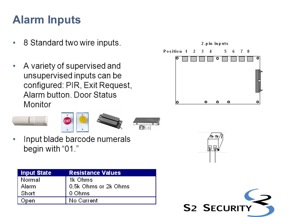 Alarm Inputs 8 Standard two wire inputs. A variety of supervised and unsupervised inputs can be configured: PIR, Exit Request, Alarm button. Door Stat