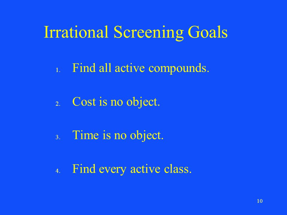 10 Irrational Screening Goals 1. Find all active compounds.