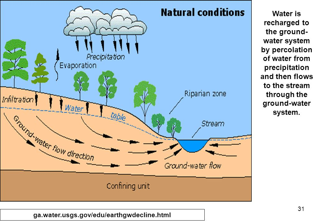 31 Water is recharged to the ground- water system by percolation of water from precipitation and then flows to the stream through the ground-water system.