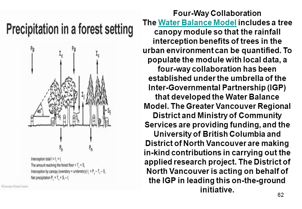 62 Four-Way Collaboration The Water Balance Model includes a tree canopy module so that the rainfall interception benefits of trees in the urban environment can be quantified.