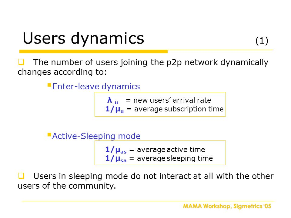 MAMA Workshop, Sigmetrics '05  The number of users joining the p2p network dynamically changes according to:  Enter-leave dynamics λ u = new users'
