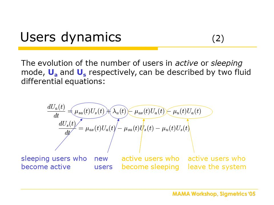MAMA Workshop, Sigmetrics '05 Users dynamics (2) The evolution of the number of users in active or sleeping mode, U a and U s respectively, can be described by two fluid differential equations: sleeping users who become active new users active users who become sleeping active users who leave the system active users who become sleeping