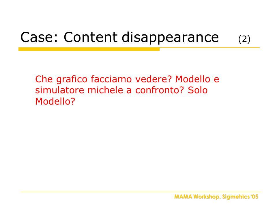 MAMA Workshop, Sigmetrics '05 Case: Content disappearance (2) Che grafico facciamo vedere.