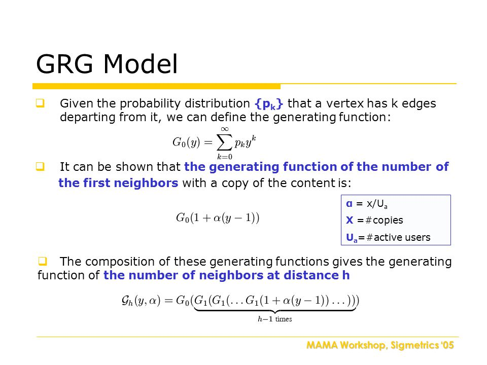 MAMA Workshop, Sigmetrics '05 GRG Model  Given the probability distribution {p k } that a vertex has k edges departing from it, we can define the gen