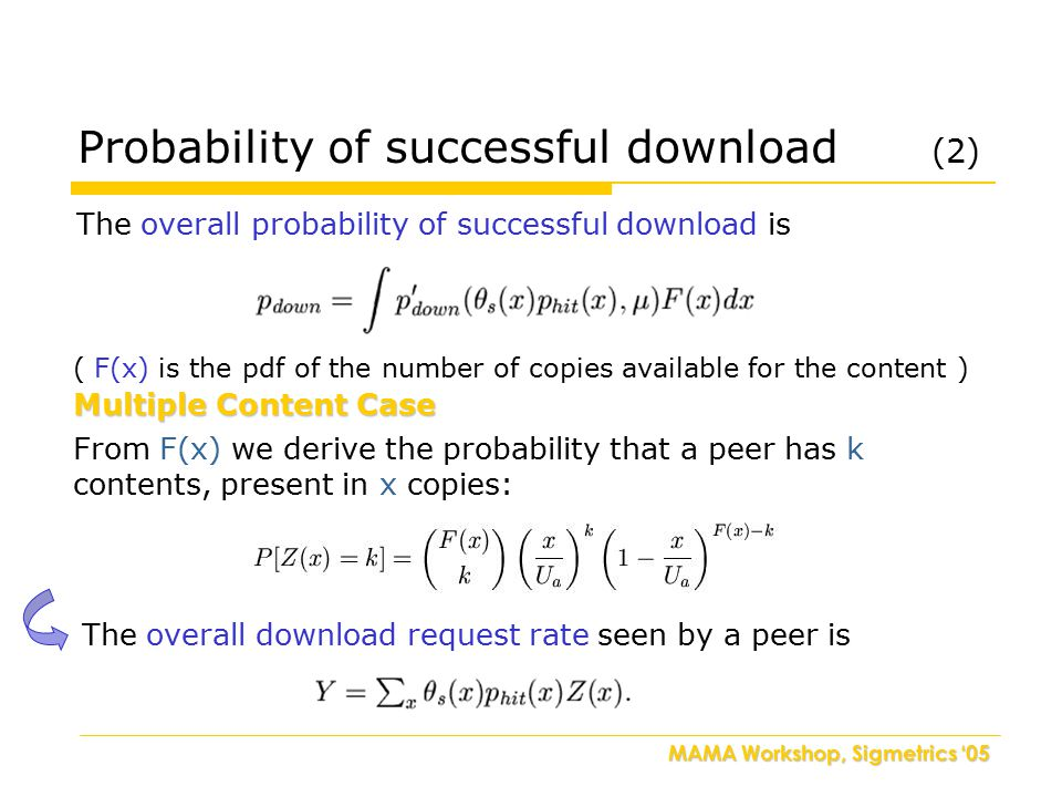 MAMA Workshop, Sigmetrics '05 The overall probability of successful download is Multiple Content Case From F(x) we derive the probability that a peer