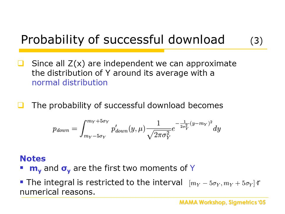 MAMA Workshop, Sigmetrics '05  Since all Z(x) are independent we can approximate the distribution of Y around its average with a normal distribution