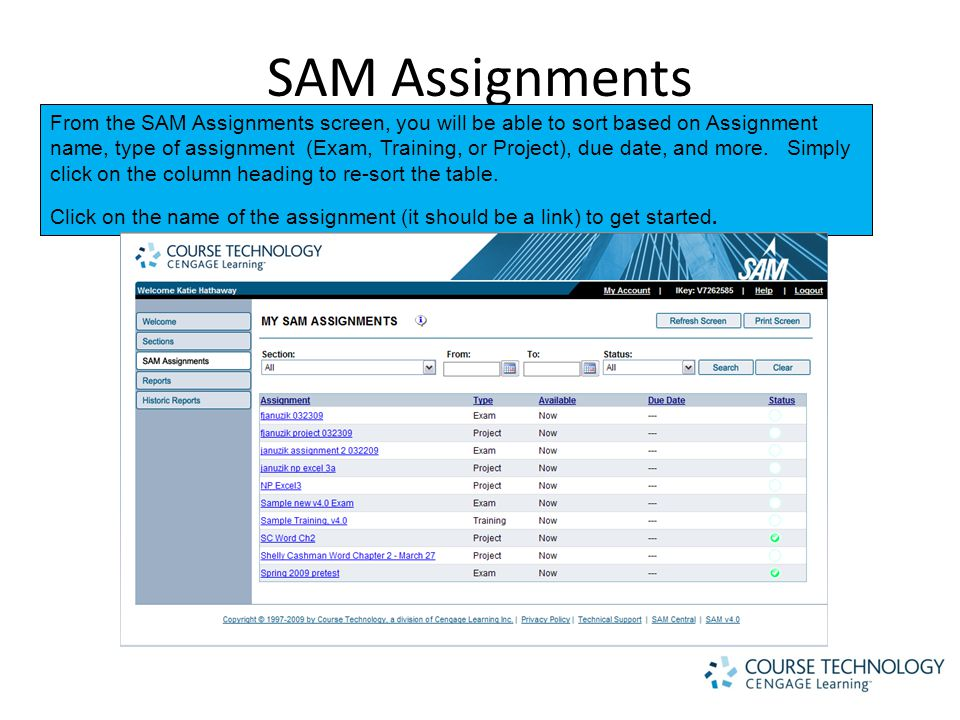 SAM Assignments From the SAM Assignments screen, you will be able to sort based on Assignment name, type of assignment (Exam, Training, or Project), due date, and more.
