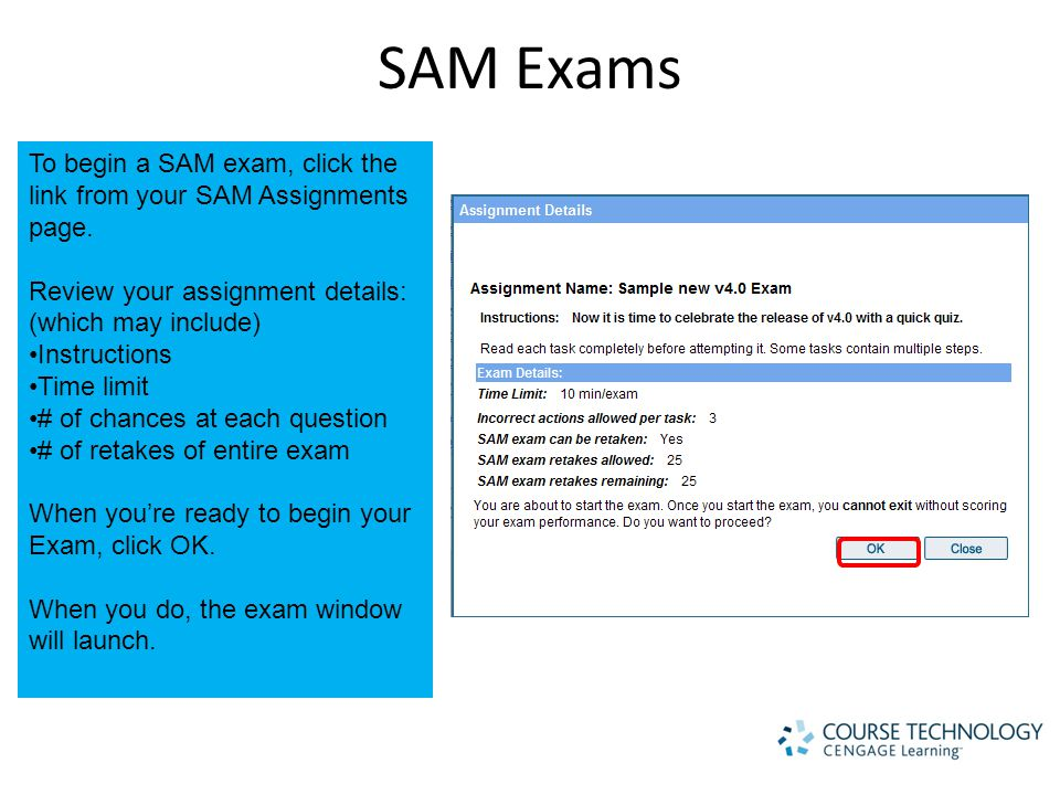 SAM Exams To begin a SAM exam, click the link from your SAM Assignments page.