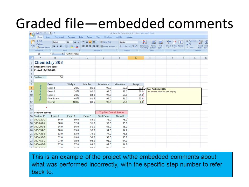 Graded file—embedded comments This is an example of the project w/the embedded comments about what was performed incorrectly, with the specific step number to refer back to.
