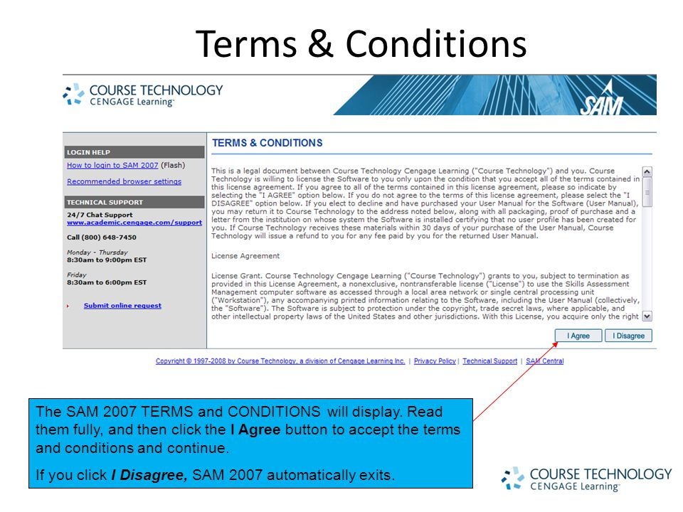 Terms & Conditions The SAM 2007 TERMS and CONDITIONS will display.